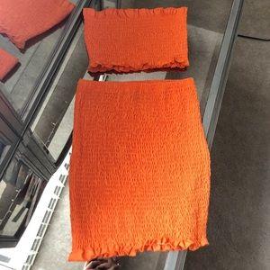SHEIN 2 piece orange bandeau top and skirt set